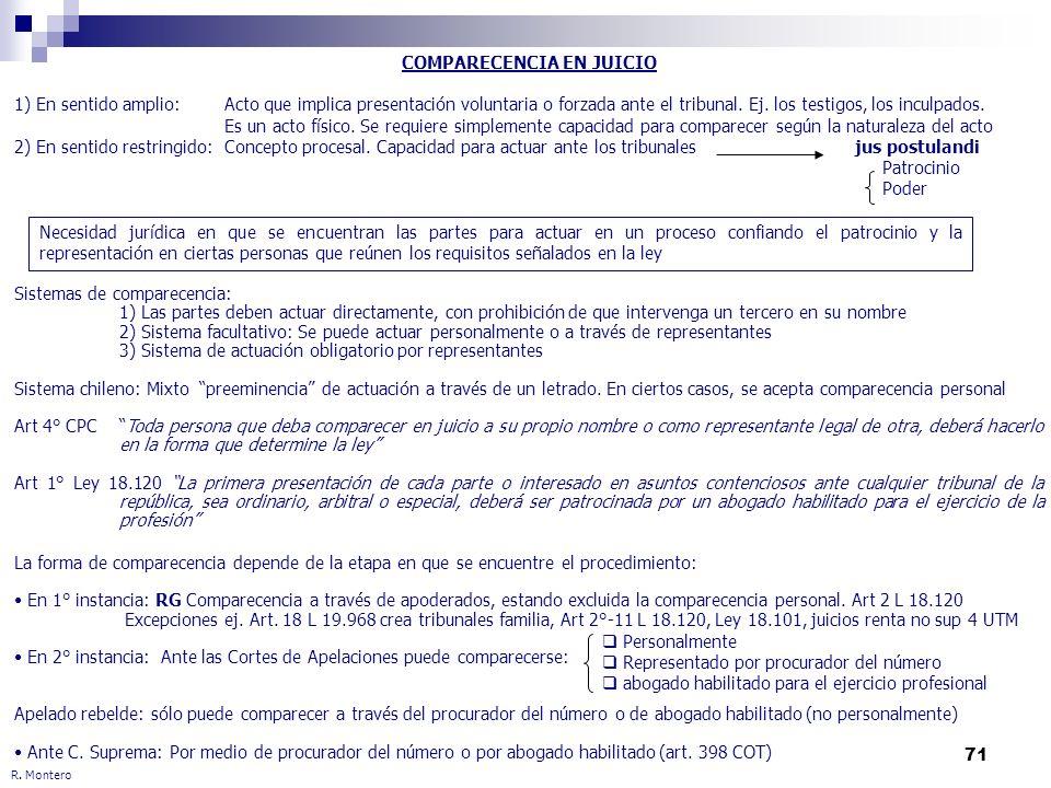 71 R. Montero COMPARECENCIA EN JUICIO 1) En sentido amplio:Acto que implica presentación voluntaria o forzada ante el tribunal. Ej. los testigos, los
