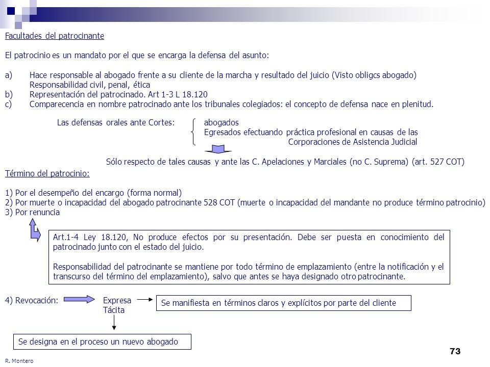 73 R. Montero Facultades del patrocinante El patrocinio es un mandato por el que se encarga la defensa del asunto: a)Hace responsable al abogado frent