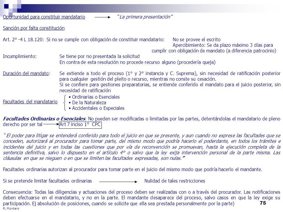75 Oportunidad para constituir mandatario La primera presentación Sanción por falta constitución Art. 2° -4 L 18.120: Si no se cumple con obligación d
