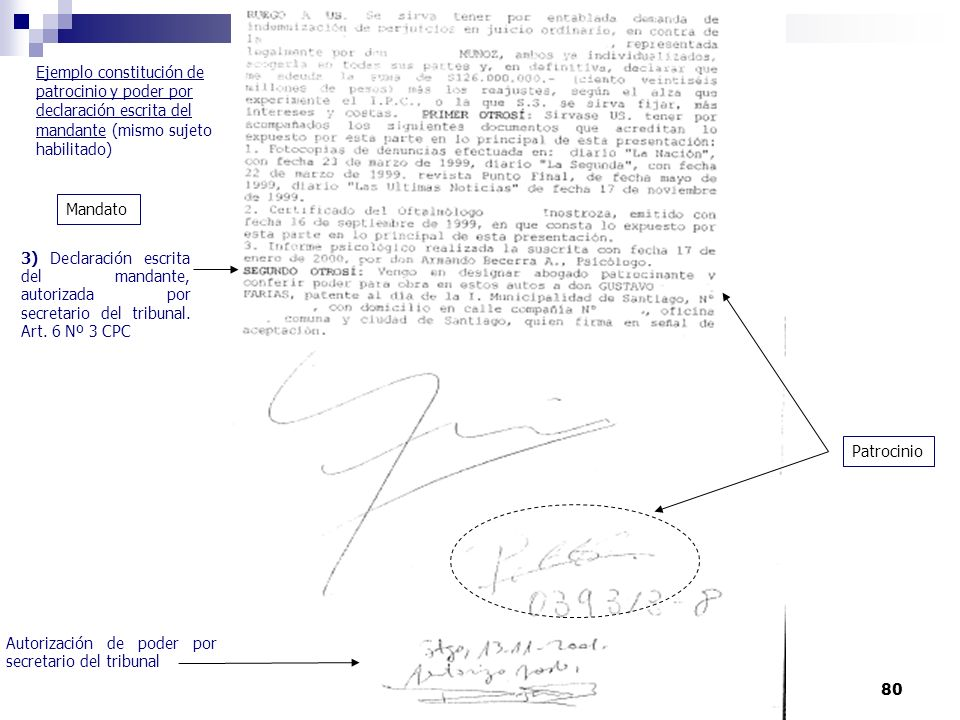80 Autorización de poder por el secretario del tribunal 3) Declaración escrita del mandante, autorizada por secretario del tribunal. Art. 6 Nº 3 CPC E