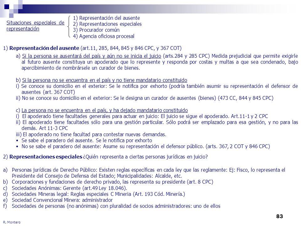 83 R. Montero 1) Representación del ausente (art.11, 285, 844, 845 y 846 CPC, y 367 COT) 2) Representaciones especiales ¿Quién representa a ciertas pe
