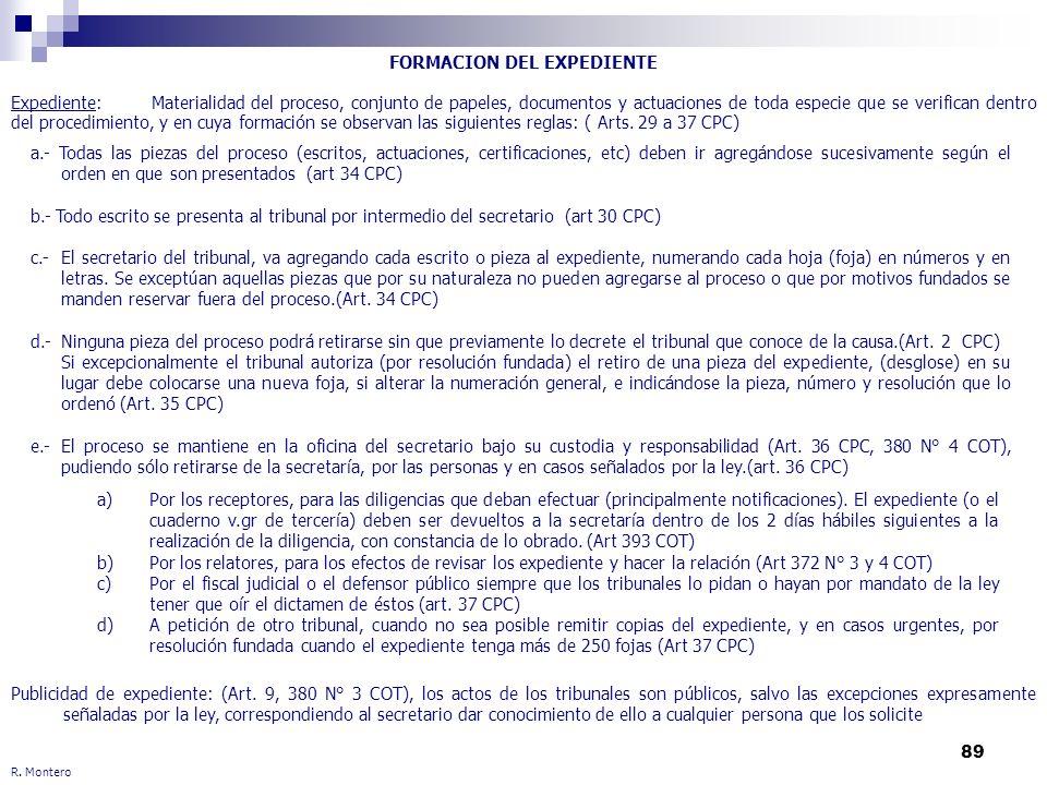 89 FORMACION DEL EXPEDIENTE Expediente: Materialidad del proceso, conjunto de papeles, documentos y actuaciones de toda especie que se verifican dentr