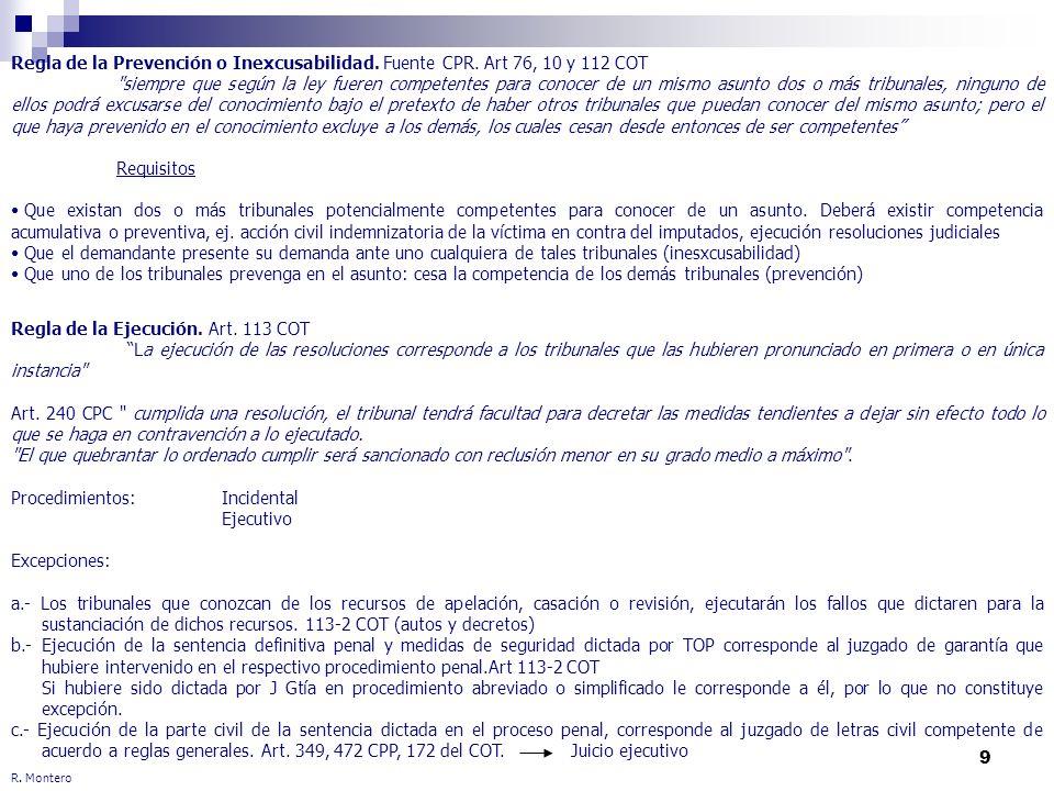 9 R. Montero Regla de la Prevención o Inexcusabilidad. Fuente CPR. Art 76, 10 y 112 COT