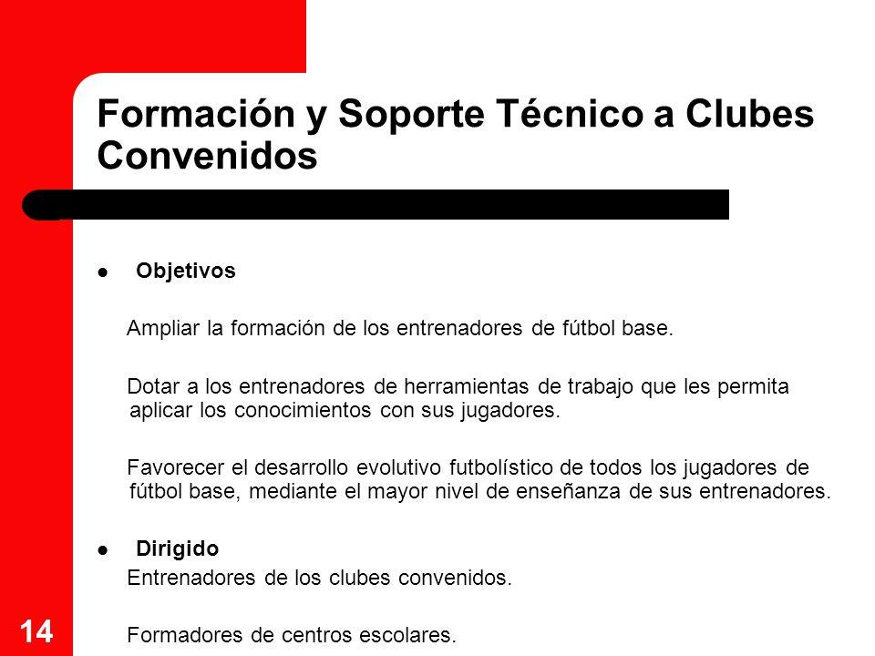 14 Formación y Soporte Técnico a Clubes Convenidos Objetivos Ampliar la formación de los entrenadores de fútbol base. Dotar a los entrenadores de herr