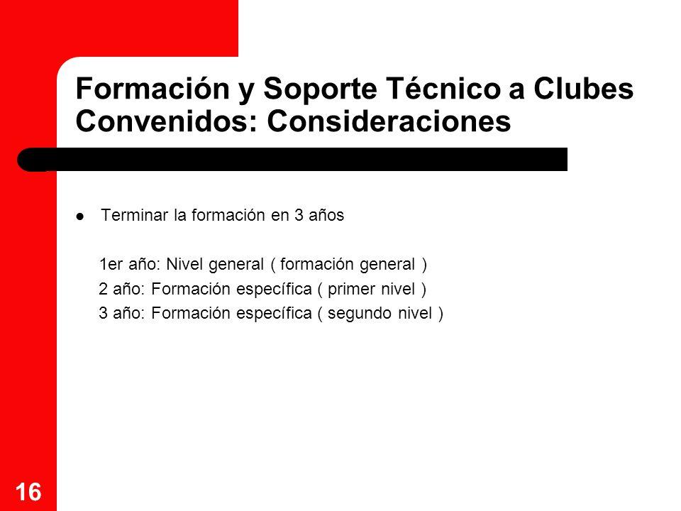 16 Formación y Soporte Técnico a Clubes Convenidos: Consideraciones Terminar la formación en 3 años 1er año: Nivel general ( formación general ) 2 año