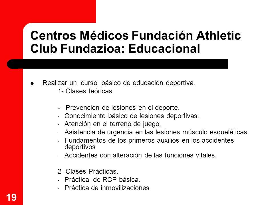 19 Centros Médicos Fundación Athletic Club Fundazioa: Educacional Realizar un curso básico de educación deportiva. 1- Clases teóricas. - Prevención de