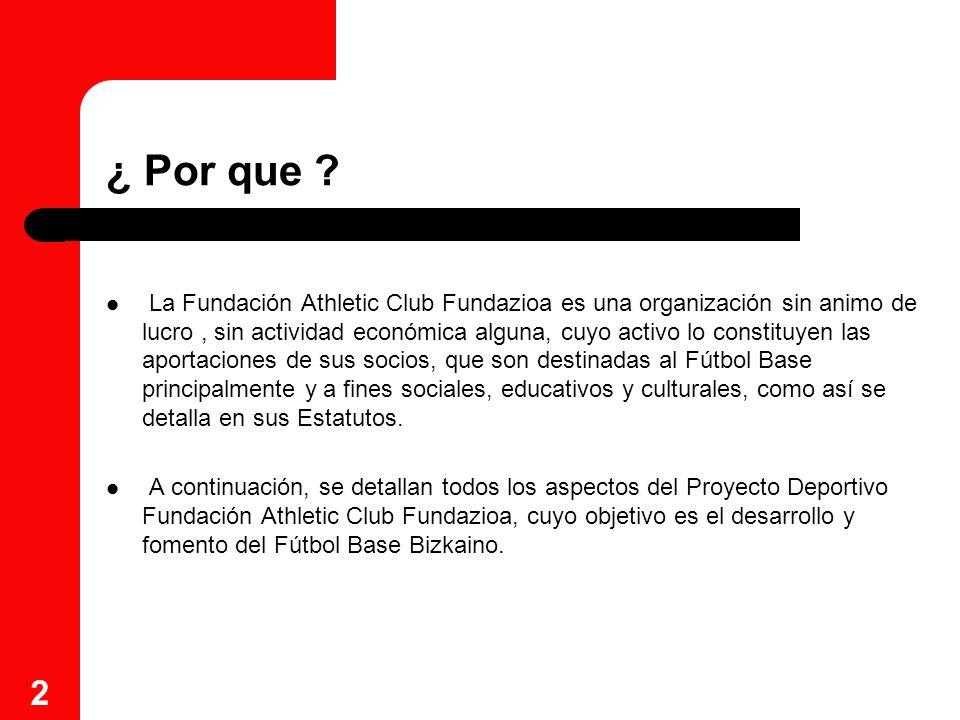 2 ¿ Por que ? La Fundación Athletic Club Fundazioa es una organización sin animo de lucro, sin actividad económica alguna, cuyo activo lo constituyen