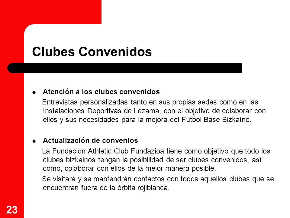 23 Clubes Convenidos Atención a los clubes convenidos Entrevistas personalizadas tanto en sus propias sedes como en las Instalaciones Deportivas de Le