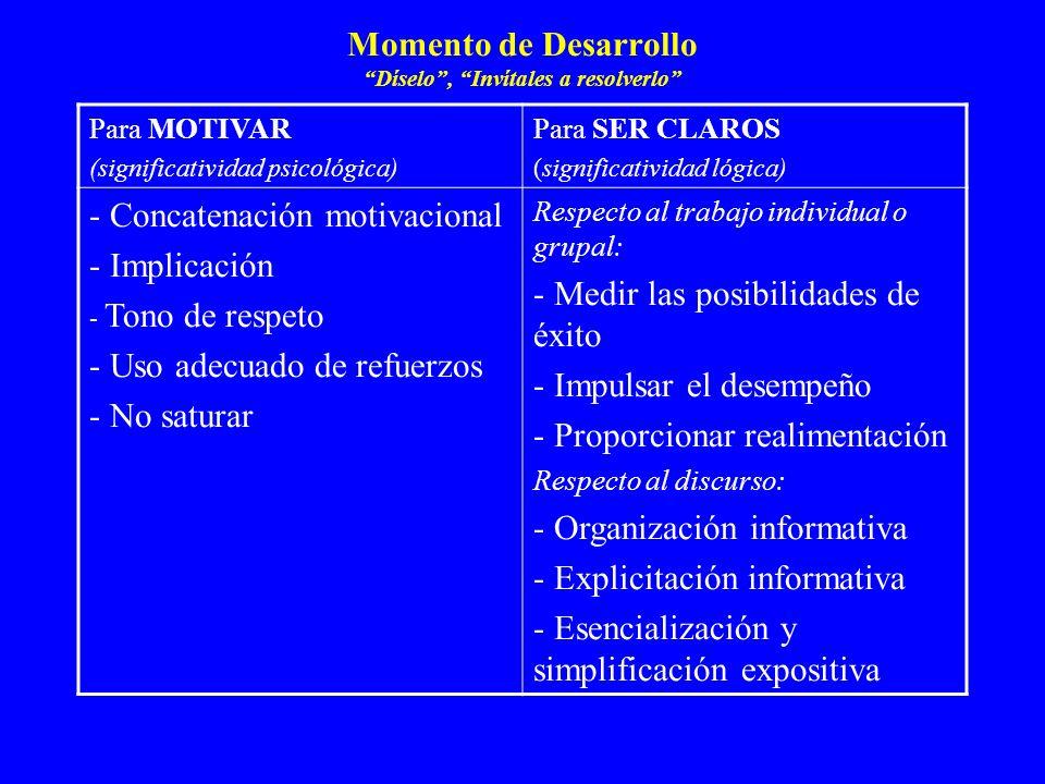 Momento de Desarrollo Díselo, Invítales a resolverlo Para MOTIVAR (significatividad psicológica) Para SER CLAROS (significatividad lógica) - Concatena