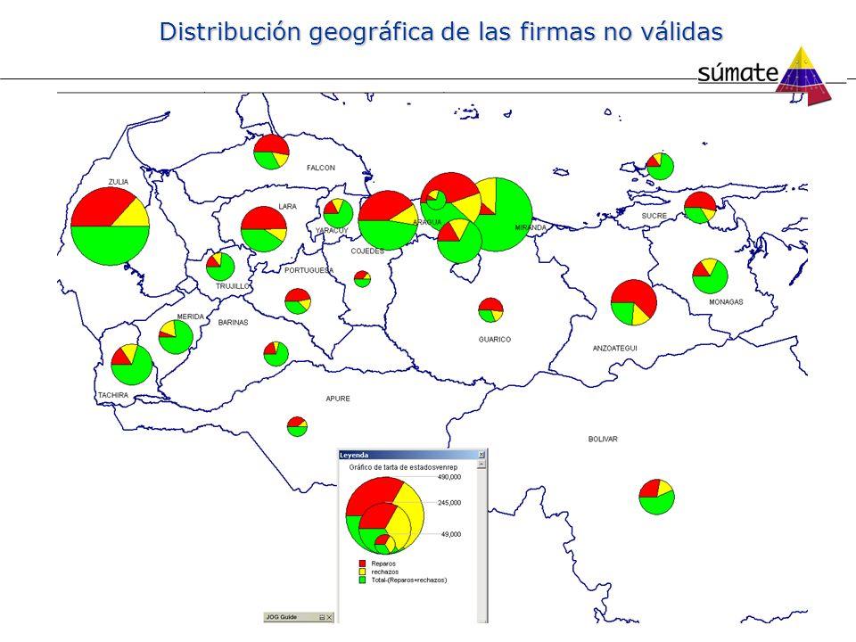 Distribución geográfica de las firmas no válidas