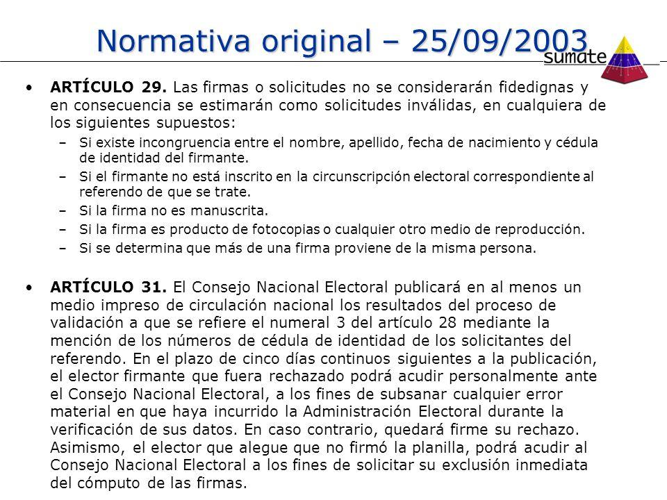Normativa original – 25/09/2003 ARTÍCULO 29. Las firmas o solicitudes no se considerarán fidedignas y en consecuencia se estimarán como solicitudes in