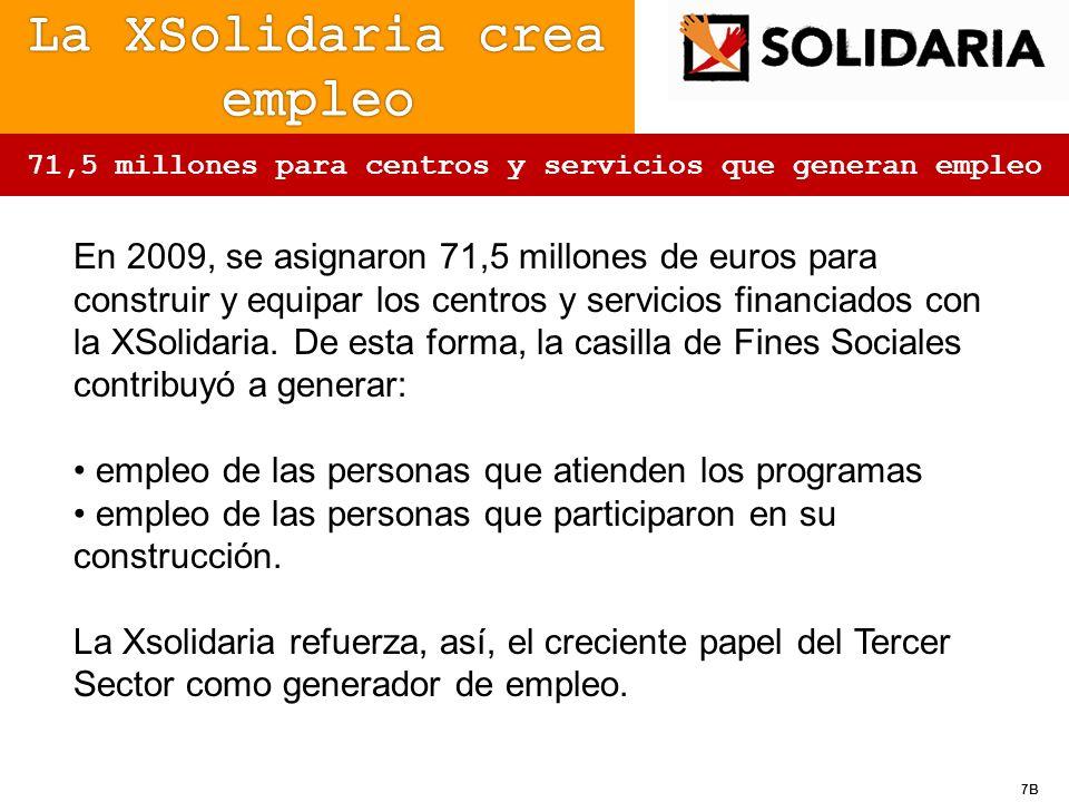 7B 71,5 millones para centros y servicios que generan empleo En 2009, se asignaron 71,5 millones de euros para construir y equipar los centros y servi