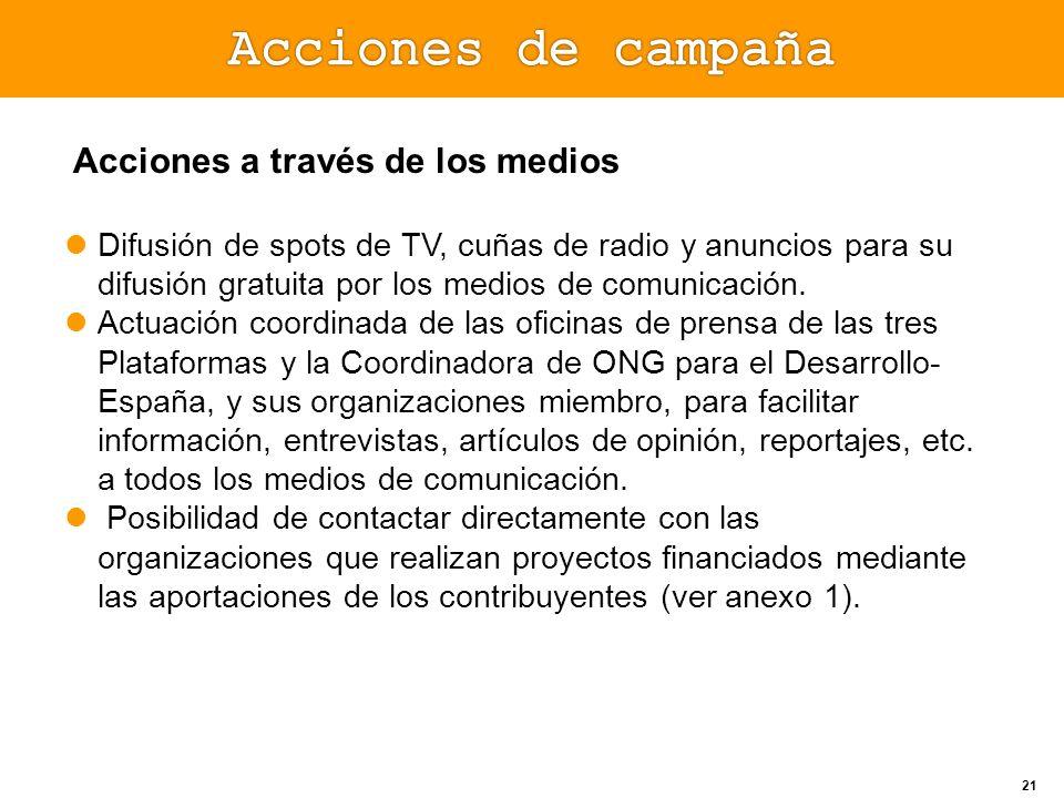Acciones a través de los medios Difusión de spots de TV, cuñas de radio y anuncios para su difusión gratuita por los medios de comunicación. Actuación