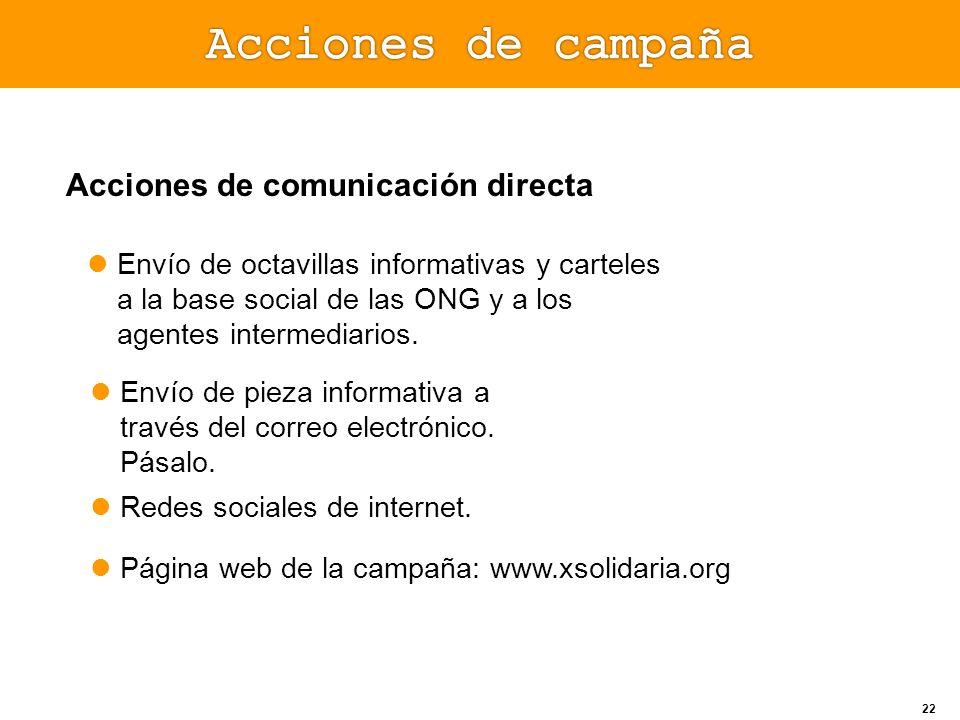 Acciones de comunicación directa Envío de octavillas informativas y carteles a la base social de las ONG y a los agentes intermediarios. Página web de