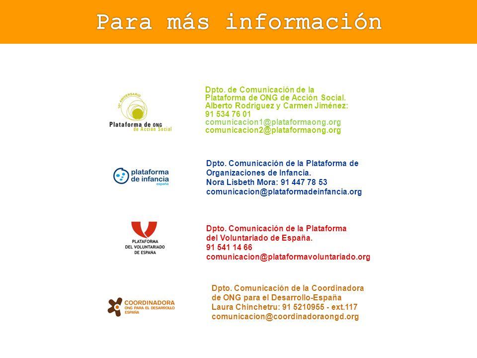 Dpto. de Comunicación de la Plataforma de ONG de Acción Social. Alberto Rodríguez y Carmen Jiménez: 91 534 76 01 comunicacion1@plataformaong.org comun
