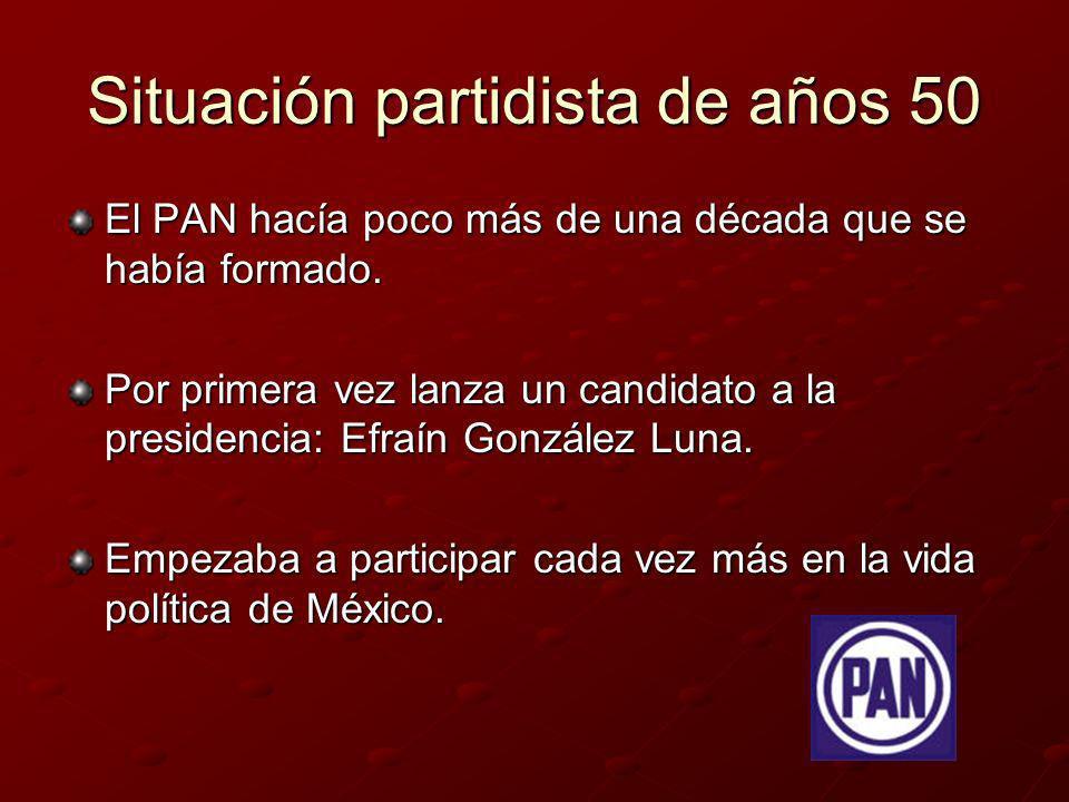 Situación partidista de años 50 El PAN hacía poco más de una década que se había formado. Por primera vez lanza un candidato a la presidencia: Efraín