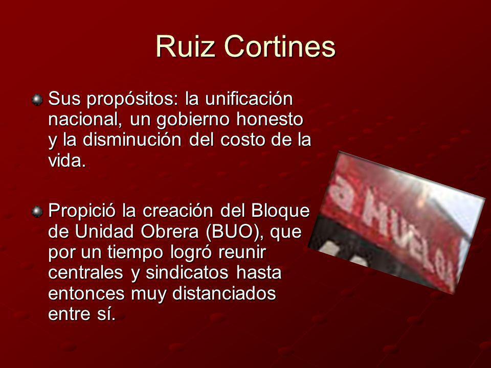 Ruiz Cortines Sus propósitos: la unificación nacional, un gobierno honesto y la disminución del costo de la vida. Propició la creación del Bloque de U