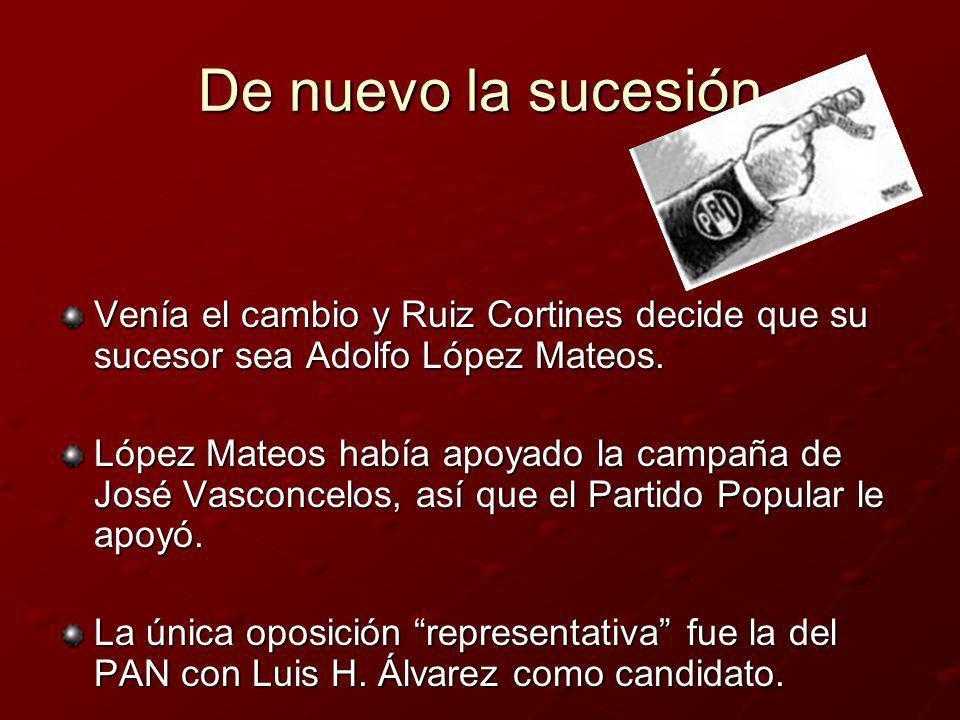 De nuevo la sucesión Venía el cambio y Ruiz Cortines decide que su sucesor sea Adolfo López Mateos. López Mateos había apoyado la campaña de José Vasc