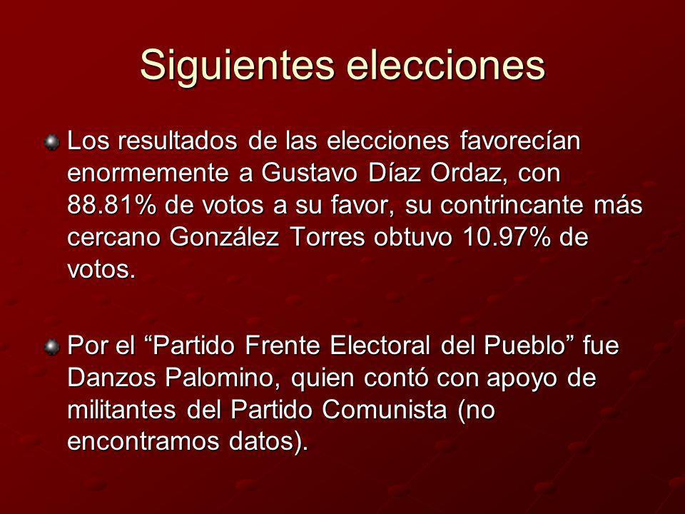 Siguientes elecciones Los resultados de las elecciones favorecían enormemente a Gustavo Díaz Ordaz, con 88.81% de votos a su favor, su contrincante má