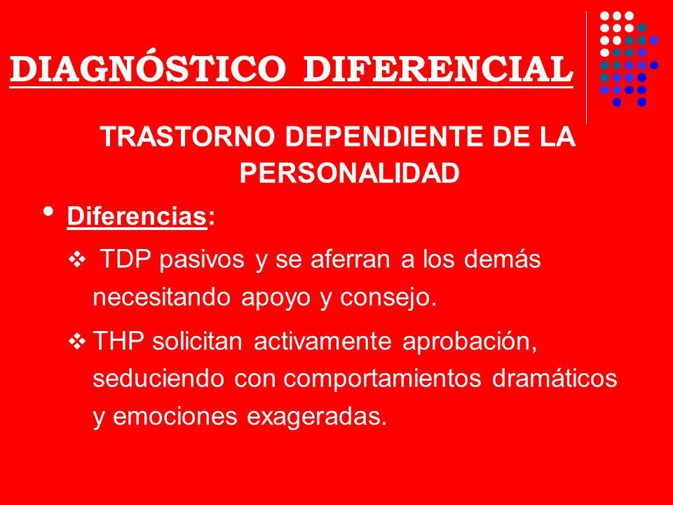 DIAGNÓSTICO DIFERENCIAL TRASTORNO DEPENDIENTE DE LA PERSONALIDAD Diferencias: TDP pasivos y se aferran a los demás necesitando apoyo y consejo. THP so