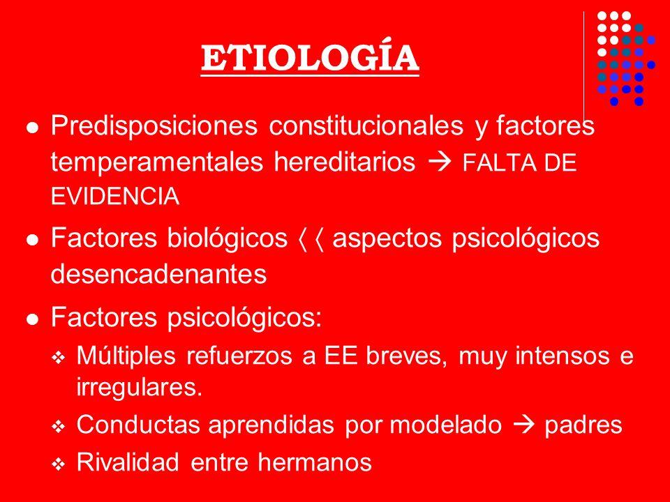ETIOLOGÍA Predisposiciones constitucionales y factores temperamentales hereditarios FALTA DE EVIDENCIA Factores biológicos aspectos psicológicos desen