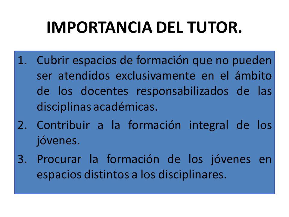 IMPORTANCIA DEL TUTOR. 1.Cubrir espacios de formación que no pueden ser atendidos exclusivamente en el ámbito de los docentes responsabilizados de las