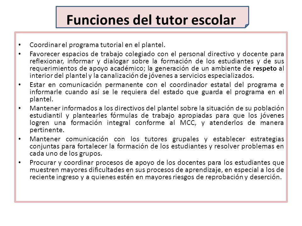 Funciones del tutor escolar Coordinar el programa tutorial en el plantel. Favorecer espacios de trabajo colegiado con el personal directivo y docente