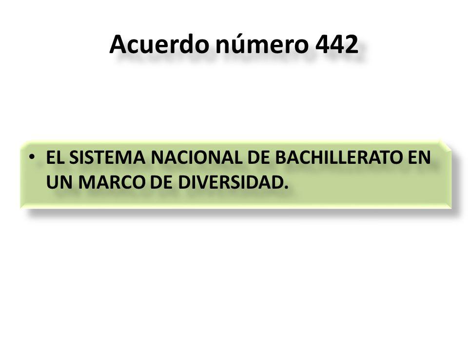 Acuerdo número 442 EL SISTEMA NACIONAL DE BACHILLERATO EN UN MARCO DE DIVERSIDAD.