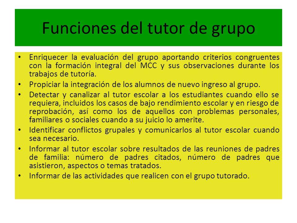 Funciones del tutor de grupo Enriquecer la evaluación del grupo aportando criterios congruentes con la formación integral del MCC y sus observaciones