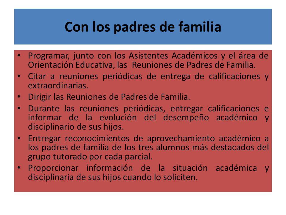 Con los padres de familia Programar, junto con los Asistentes Académicos y el área de Orientación Educativa, las Reuniones de Padres de Familia. Citar