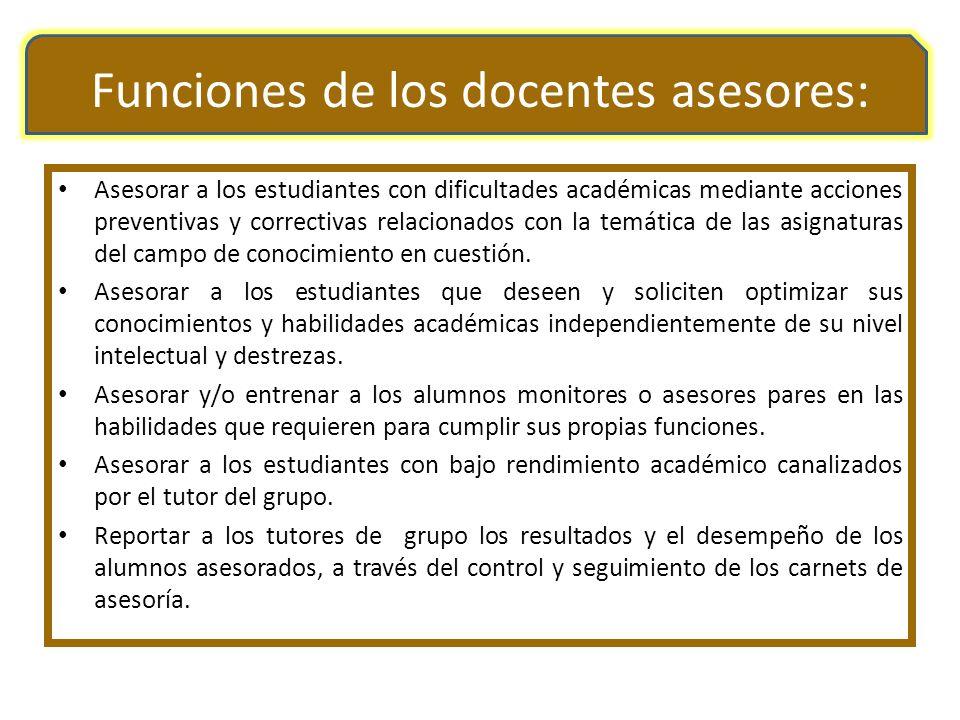 Funciones de los docentes asesores: Asesorar a los estudiantes con dificultades académicas mediante acciones preventivas y correctivas relacionados co