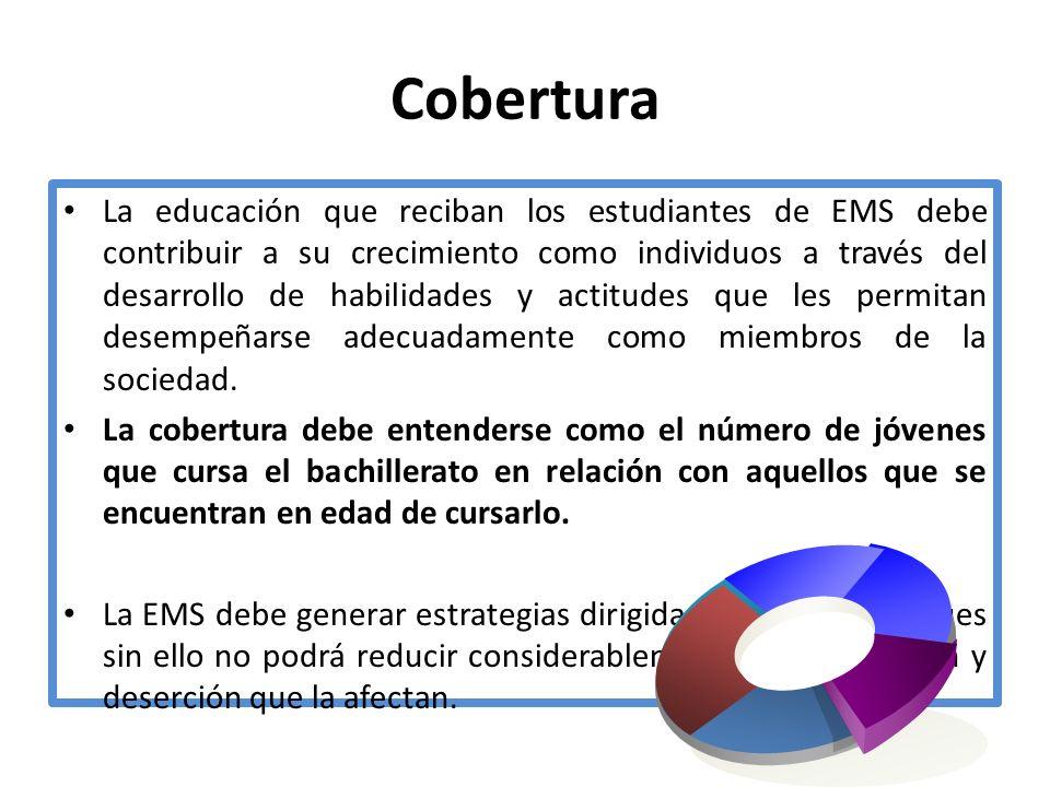 Cobertura La educación que reciban los estudiantes de EMS debe contribuir a su crecimiento como individuos a través del desarrollo de habilidades y ac