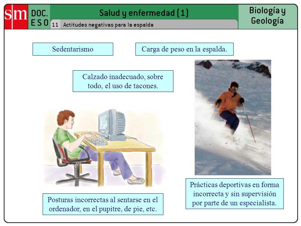 Salud y enfermedad (1) DOC. E S O Biología y Geología 11Actitudes negativas para la espalda Carga de peso en la espalda.Sedentarismo Calzado inadecuad