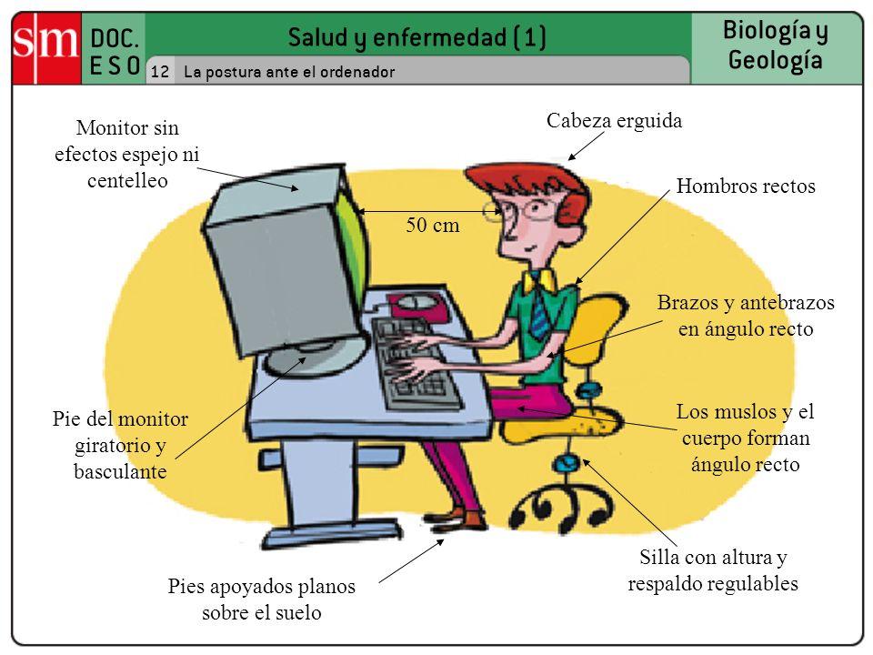 Salud y enfermedad (1) DOC. E S O Biología y Geología 12La postura ante el ordenador Cabeza erguida Monitor sin efectos espejo ni centelleo Pie del mo