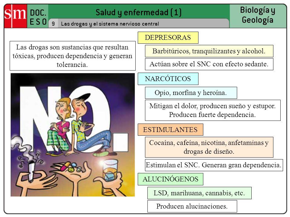 Salud y enfermedad (1) DOC. E S O Biología y Geología 9Las drogas y el sistema nervioso central Las drogas son sustancias que resultan tóxicas, produc