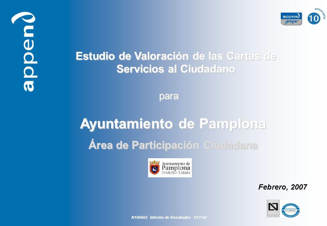 Estudio de Valoración de las cartas de Servicios del Ayuntamiento de Pamplona 1 Estudio de Valoración de las Cartas de Servicios al Ciudadano Ayuntami