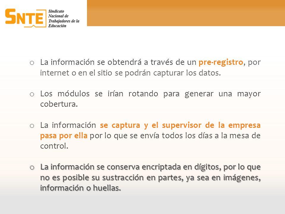 o La información se obtendrá a través de un pre-registro, por internet o en el sitio se podrán capturar los datos. o Los módulos se irían rotando para