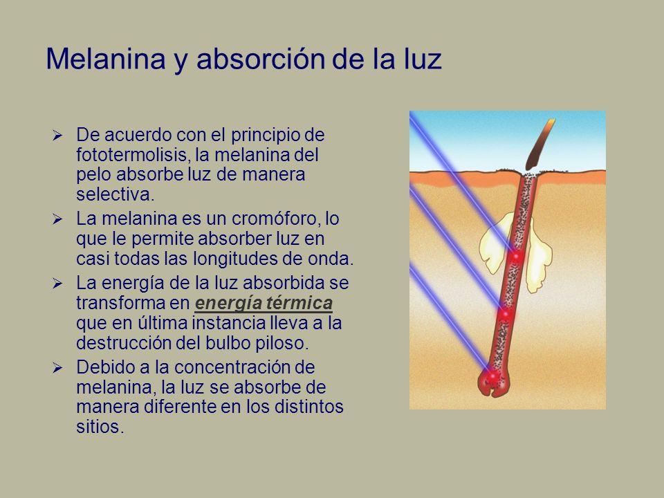 Melanina y absorción de la luz De acuerdo con el principio de fototermolisis, la melanina del pelo absorbe luz de manera selectiva. La melanina es un