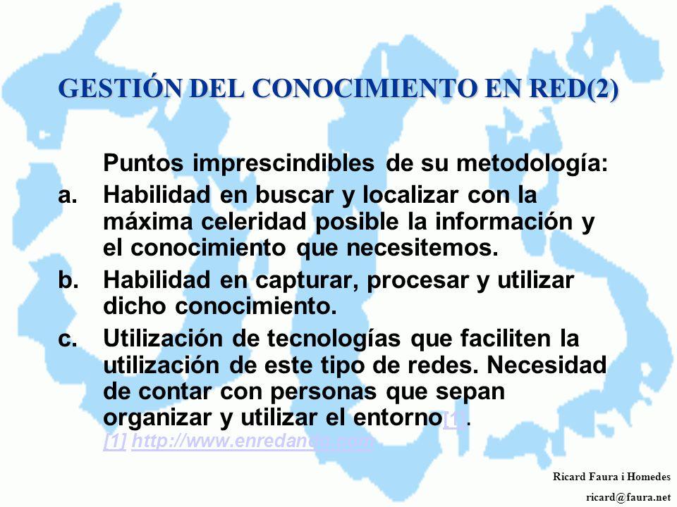 GESTIÓN DEL CONOCIMIENTO EN RED Una parte esencial de la información y el conocimiento que las organizaciones necesitan para llevar a cabo eficienteme