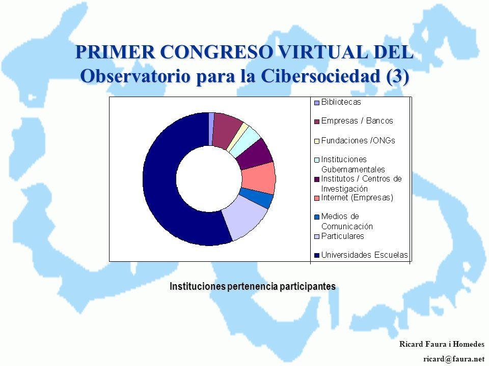 PRIMER CONGRESO VIRTUAL DEL Observatorio para la Cibersociedad (2) Ricard Faura i Homedes ricard@faura.net