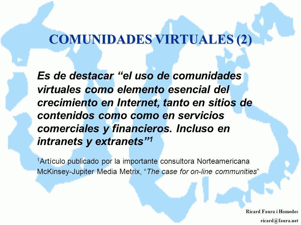 COMUNIDADES VIRTUALES (1) Comunidades Virtuales: redes que alimentan relaciones de larga distancia y lazos locales. John B. Horrigan Pew Internet & Am
