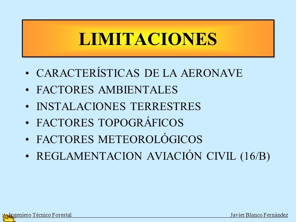 CARACTERÍSTICAS DE LA AERONAVE FACTORES AMBIENTALES INSTALACIONES TERRESTRES FACTORES TOPOGRÁFICOS FACTORES METEOROLÓGICOS REGLAMENTACION AVIACIÓN CIVIL (16/B) LIMITACIONES Ingeniero Técnico Forestal Javier Blanco Fernández
