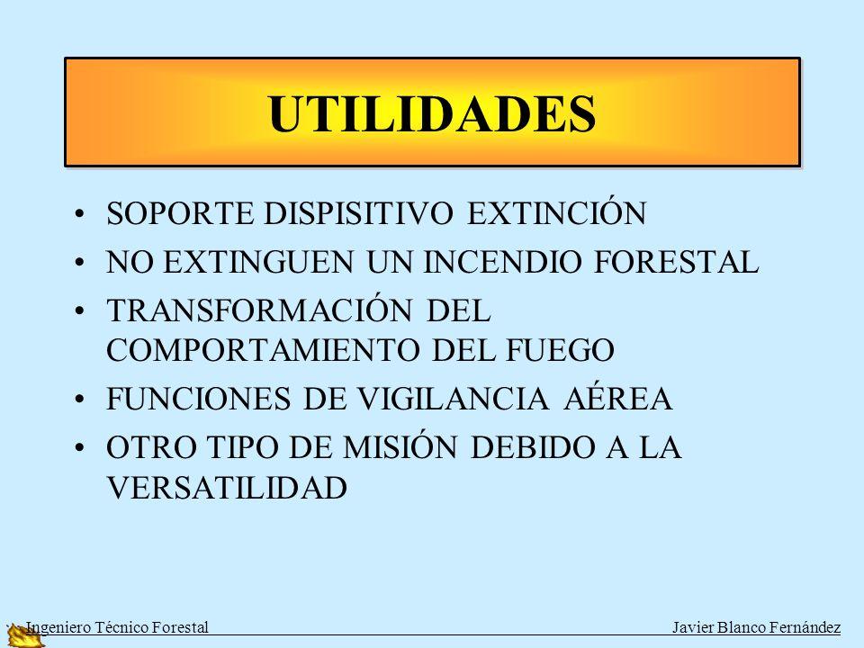 SOPORTE DISPISITIVO EXTINCIÓN NO EXTINGUEN UN INCENDIO FORESTAL TRANSFORMACIÓN DEL COMPORTAMIENTO DEL FUEGO FUNCIONES DE VIGILANCIA AÉREA OTRO TIPO DE MISIÓN DEBIDO A LA VERSATILIDAD UTILIDADES Ingeniero Técnico Forestal Javier Blanco Fernández