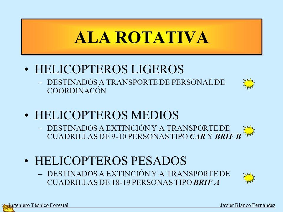 AVIONES CARGA TIERRA –LIGEROS: AT-503, DROMADAIR –PESADOS: HERCULES AVIONES ANFIBIOS –LIGEROS: AT-802 –PESADOS: CL-215 Y CL-215-T (CANADAIR O FOCA) ALA FIJA Ingeniero Técnico Forestal Javier Blanco Fernández