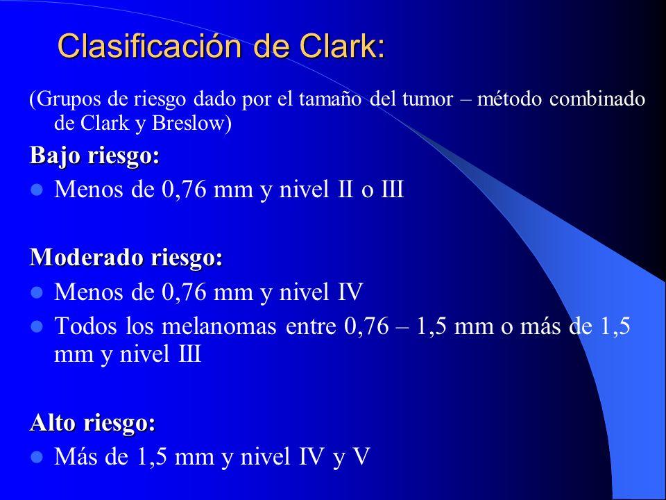 Clasificación de Clark: (Grupos de riesgo dado por el tamaño del tumor – método combinado de Clark y Breslow) Bajo riesgo: Menos de 0,76 mm y nivel II