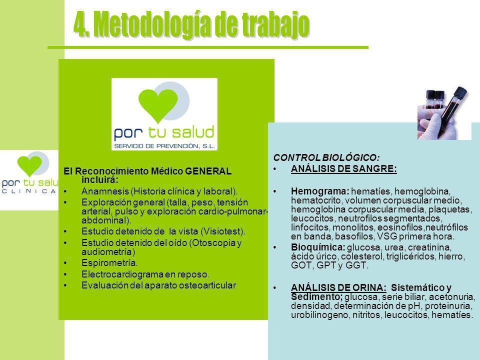 El Reconocimiento Médico GENERAL incluirá: Anamnesis (Historia clínica y laboral). Exploración general (talla, peso, tensión arterial, pulso y explora
