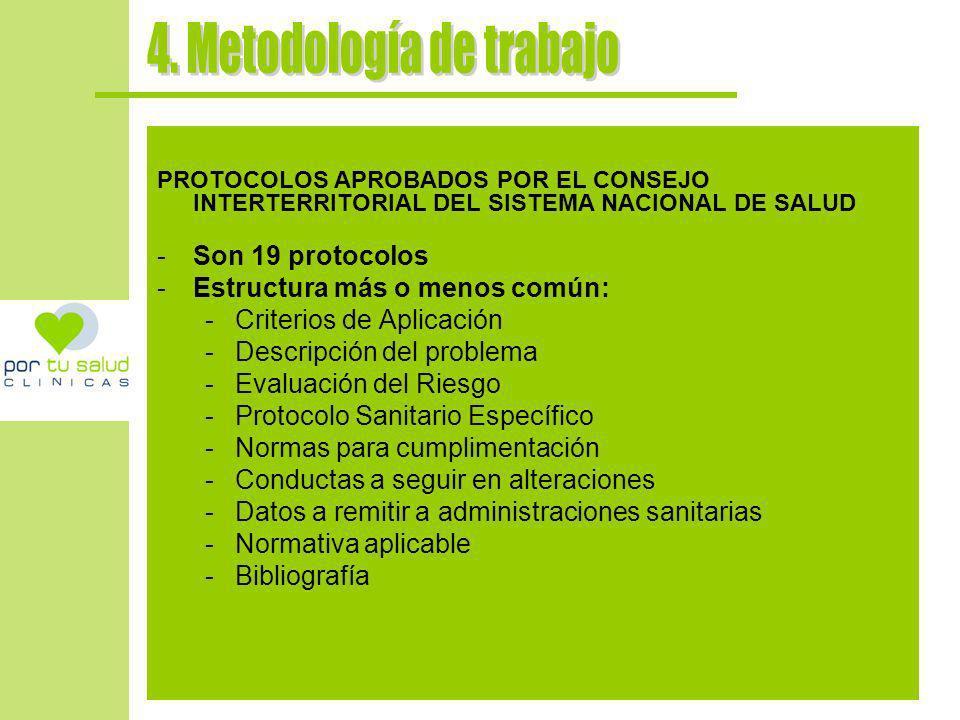 PROTOCOLOS APROBADOS POR EL CONSEJO INTERTERRITORIAL DEL SISTEMA NACIONAL DE SALUD -Son 19 protocolos -Estructura más o menos común: -Criterios de Apl