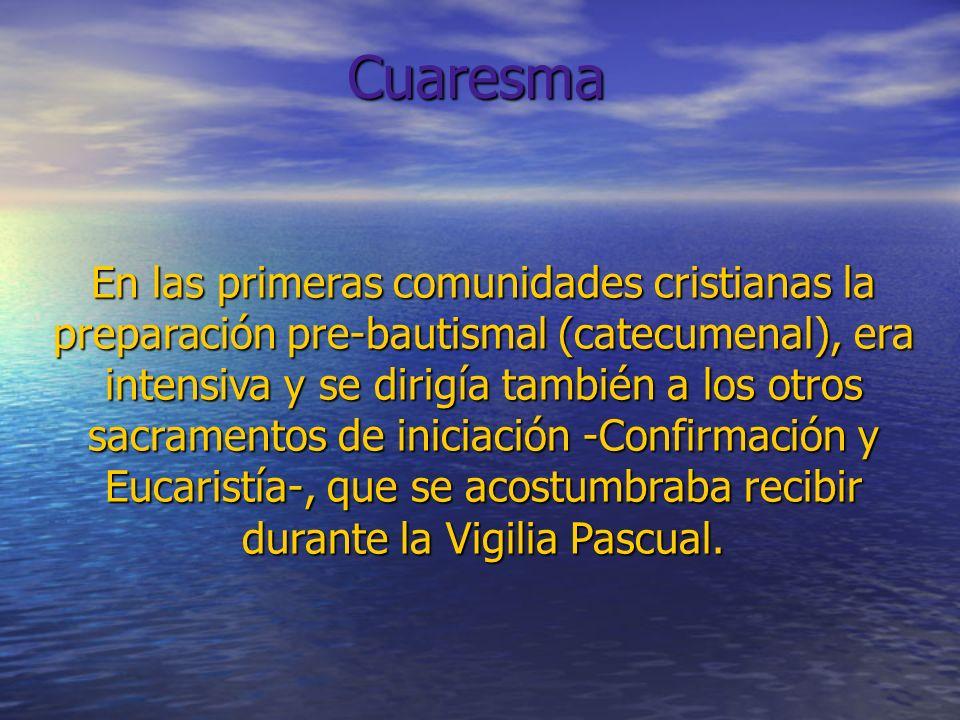 En las primeras comunidades cristianas la preparación pre-bautismal (catecumenal), era intensiva y se dirigía también a los otros sacramentos de inici