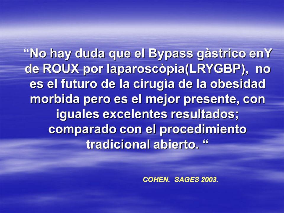 No hay duda que el Bypass gàstrico enY de ROUX por laparoscòpia(LRYGBP), no es el futuro de la cirugìa de la obesidad morbida pero es el mejor present