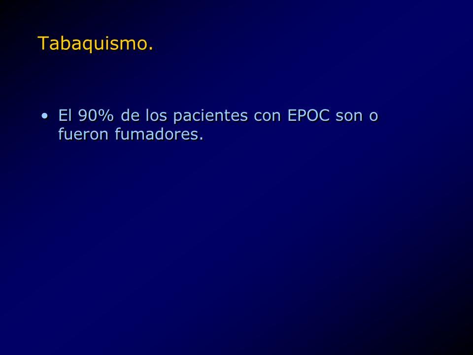 Tabaquismo. El 90% de los pacientes con EPOC son o fueron fumadores.
